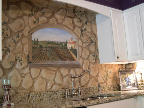 Hand-Painted Tile Backsplash - Painted Kitchen Backsplashes
