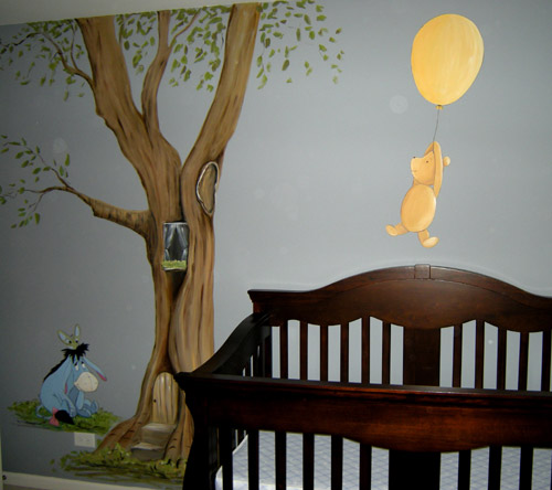 Nursery mural ideas on pinterest winnie the pooh for Classic winnie the pooh wall mural