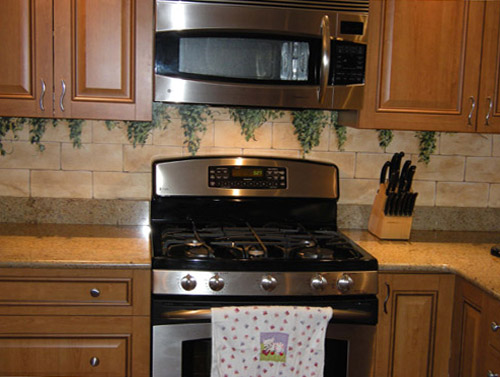 hand painted tile backsplash painted kitchen backsplashes
