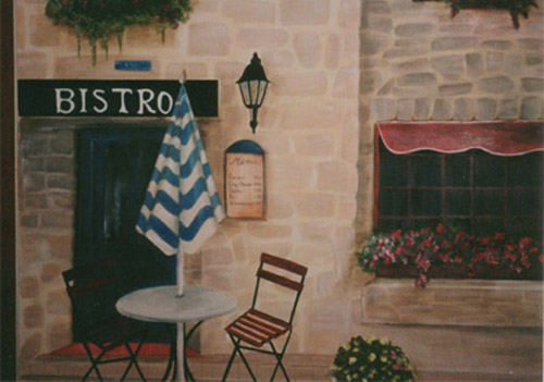 Debbie cerone wall murals french bistro kitchen mural for Cafe wall mural