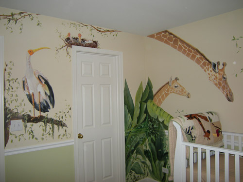 Muralist debbie cerone jungle animals for baby 39 s room for Baby room jungle mural