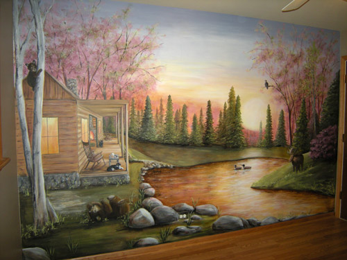 North woods mural muralist debbie cerone for Cabin in the woods wall mural