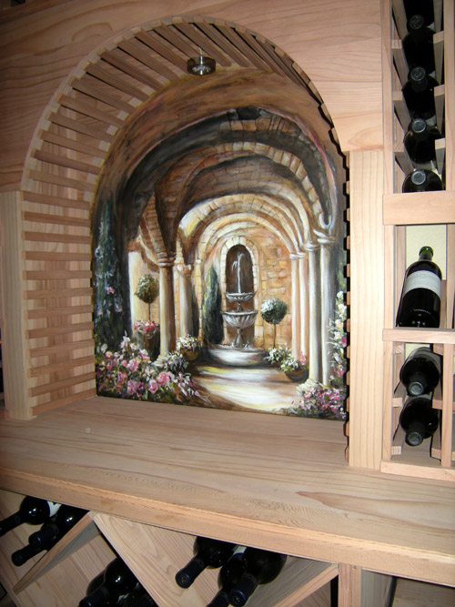 Model Home Wine Cellar Artwork. Wine Vineyard Murals & Muralist Debbie Cerone | Wall Murals | Chicago Area | Illinois