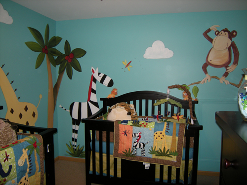 Nojo jungle babies baby animals no jo muralist debbie for Baby nursery mural