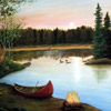 North Woods Lake and Canoe Murals