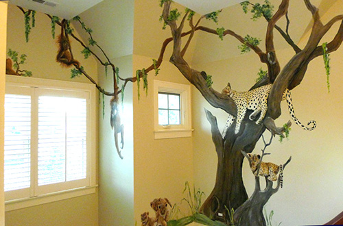Jungle Animal Murals For Children And Nursery Rooms
